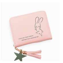 2019 short ladies wallet Japanese and Korean version of the rabbit cute student small fresh fringed purse