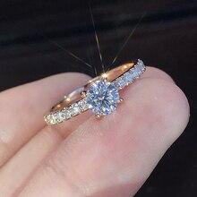 Nueva moda, anillos de compromiso de cristal, gran oferta para mujer, anillos blancos elegantes, boda femenina, regalo de joyería nupcial