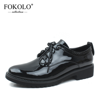 FOKOLO Casual Shoes Women Patent Leather Round Toe Lace-Up Flats 2020 Spring and Autumn Genuine Leather Ladies Shoes Handmade P9