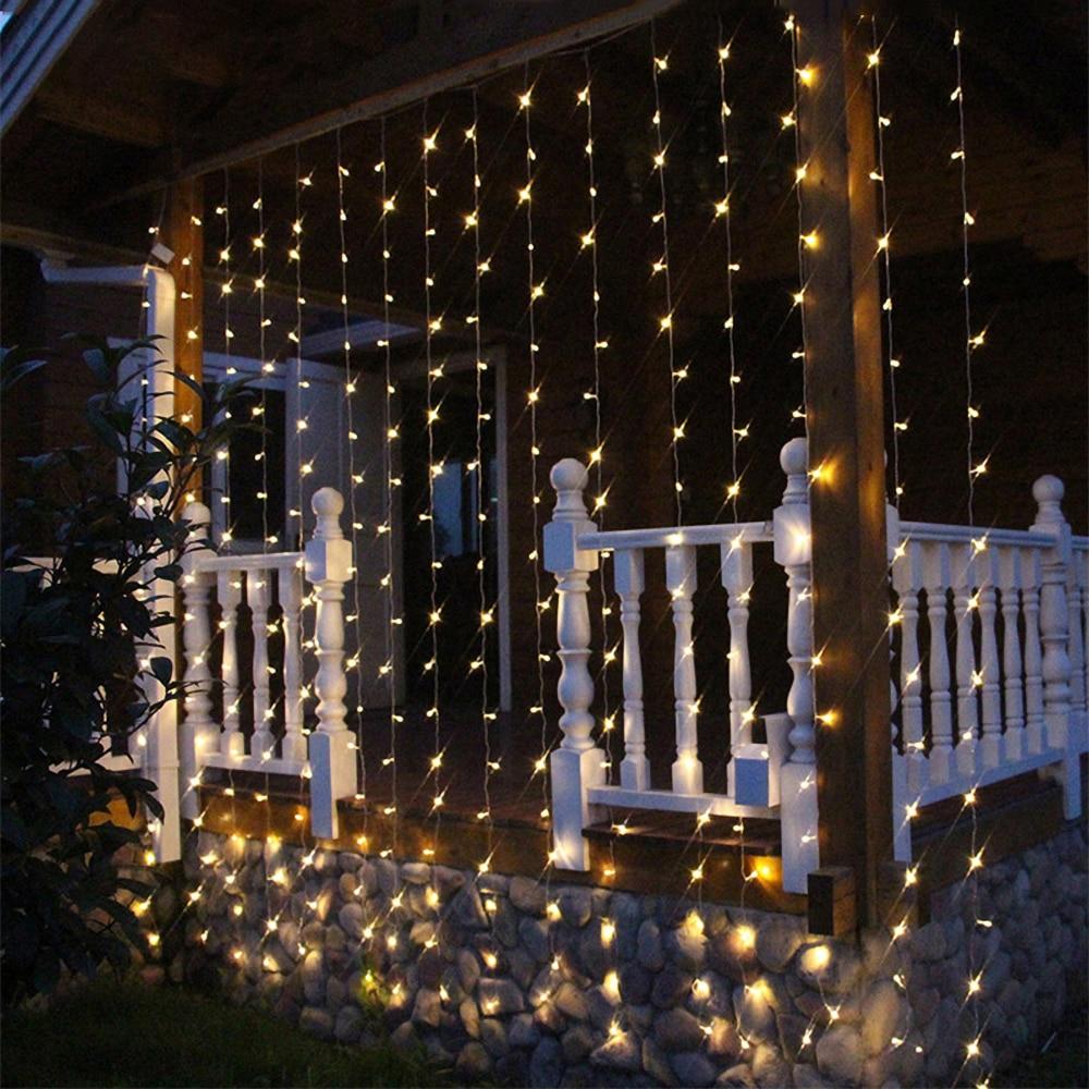 LED 220V EU /110V US Plug String Curtains Light Waterfall Christmas Garland Fairy Lights Outdoor For Holiday Wedding Decoration