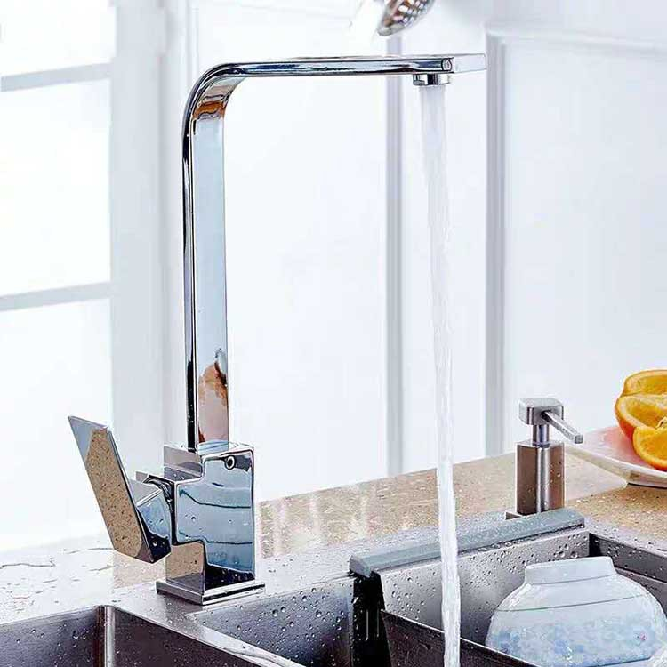 Manufacturers Wholesale Set Of Copper Is Square Flat Tube Kitchen Faucet Hot And Cold Stainless Steel Sink Washing Basin Tap