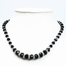 Free Shipping!Wholesale 5pcs/lot Fashion Black Crystal Glass Faceted Beads Necklace With Magnetic Clasp 19 199