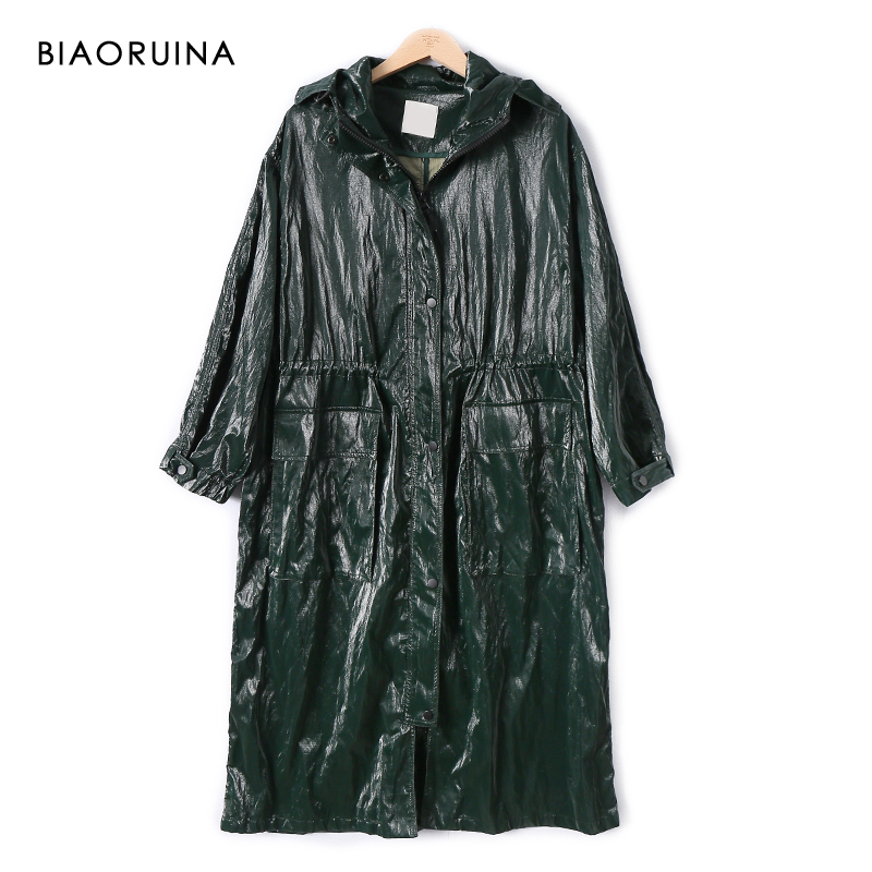 BIAORUINA Women's Green Glossy Waterproof Long Hooded Trench Female Loose PU Pleated Cotton Liner Straigh Long Coat Outerwear