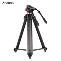 Andoer Professional Camera Tripod Dual Handled Hydraulic Head Tripod for Canon Nikon Sony DSLR Camera Camcorder Aluminum Alloy
