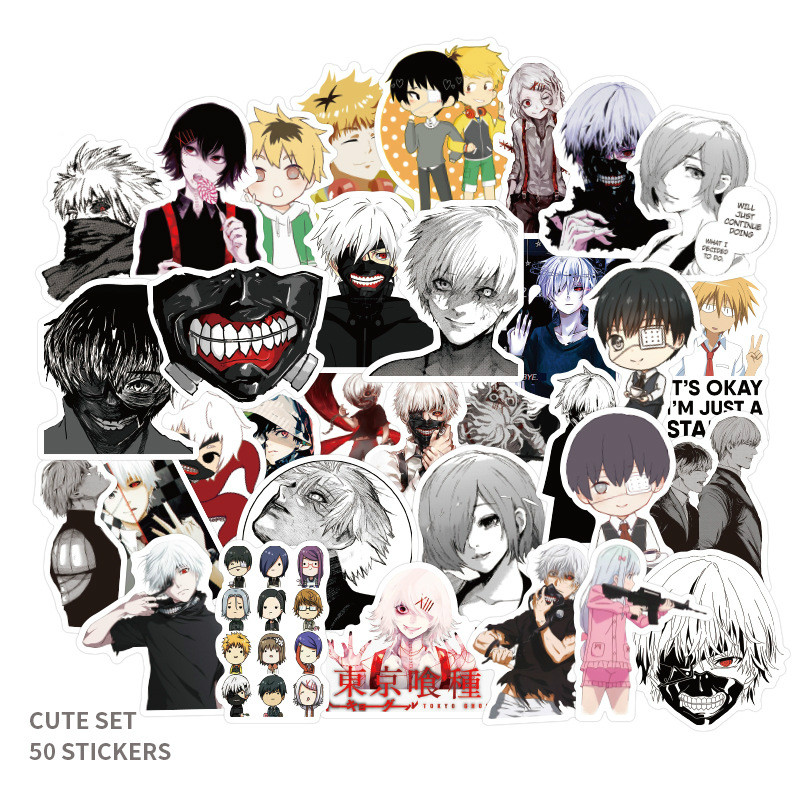 50pcs Japan Anime Tokyo Ghoul for Luggage Laptop Skateboard Bicycle Backpack Decal Pegatinas Toy Stickers for Children Gift