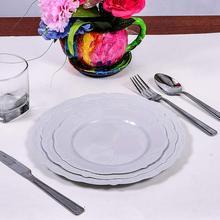 Круглые одноразовые тарелки вечерние Свадебные День рождения походный рюкзак(6 шт) посуда белый