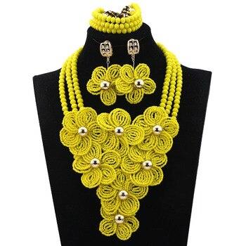 Shining Yellow Flower  Wedding Jewelry Beads Set  Unique  Nigerian Beaded Jewelry  Set  Handmade  Free Shipping  hx408