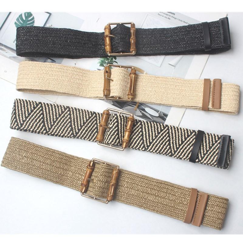 Winfox Square Wooden Buckle Dress Belt For Women Casual Female Braided  Belt Strap Wax Rope Woven Girls Elastic Straw Belts