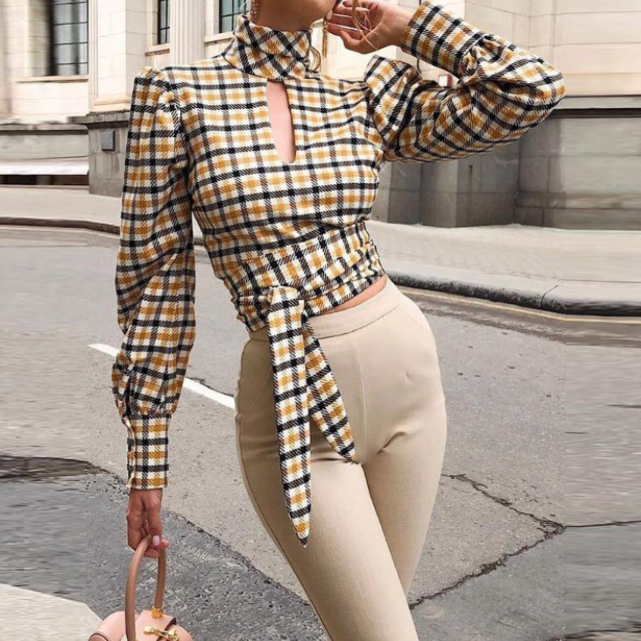 Goocheer Autumn New Long-Sleeved Sexy Backless Fashion Wild Woman Plaid Shirt Hollow Out T-shirt