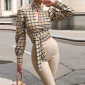 Goowrom Autumn New Long-Sleeved Sexy Backless Fashion Wild Woman Plaid Shirt Hollow Out T-shirt