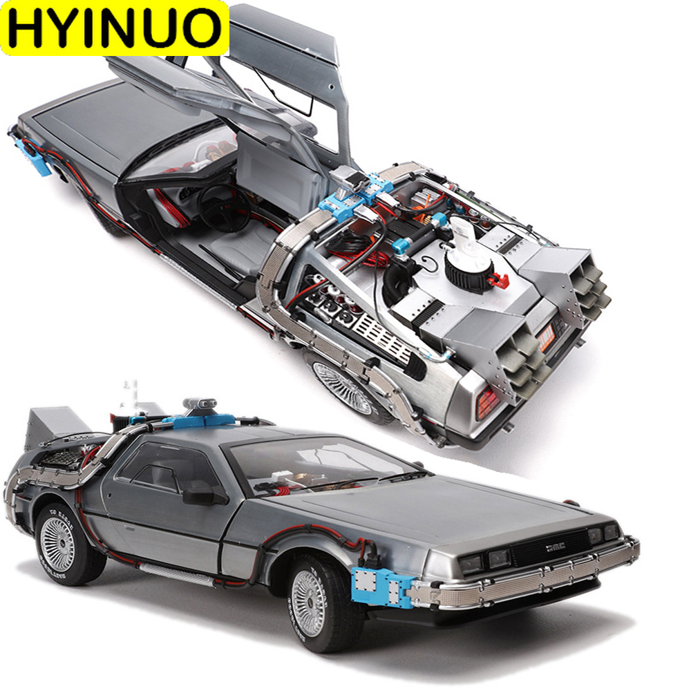 1/18 Scale Diecast Metal Alloy Car Model Part 3 Time Machine DeLorean Vehicle Model Toy Welly Back To The Future Limited Edition