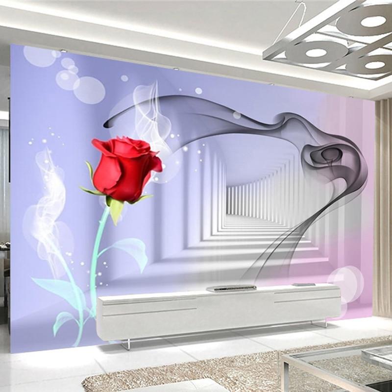 Modern Abstract Art Smoke Rose Photo Wall Mural Wallpaper 3D Stereo Creative Space Living Room TV Sofa Backdrop Wall Decor Mural