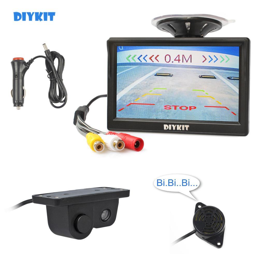DIYKIT Wired 5 zoll Farbe TFT LCD Auto Monitor + Wasserdicht Parkplatz Radar Sensor Auto Kamera Rückansicht Kamera Parkplatz system Kit
