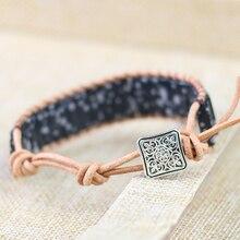 Natural Stone Black Turquoises Bracelet Tube Beads Leather Wrap Bracelet Couples Bracelets Chakra Bracelet Jewelry Handmade