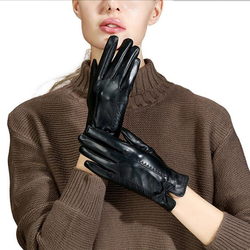 Womens Gloves Winter Plush Thickening Warm Driving Cycling Outdoor Gloves Winter Protection Gloves Touch Screen Capeskin Gloves
