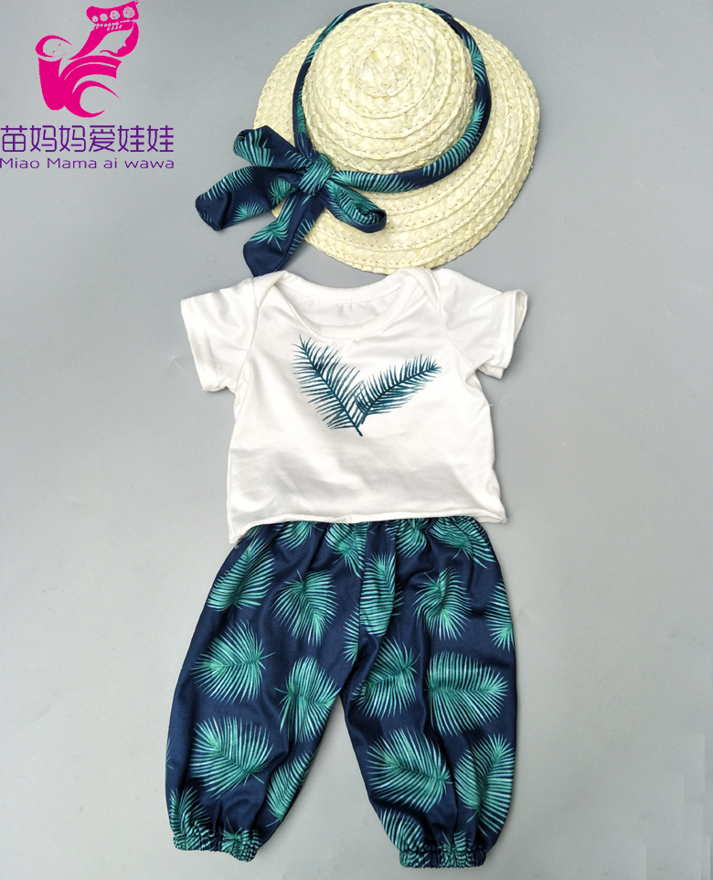 Baby Doll Clothes Summer Holiday Hawaiian Beach Pants Hat Set  For 18 Inch Girl Doll Holiday Clothes T-shirt Pants Set