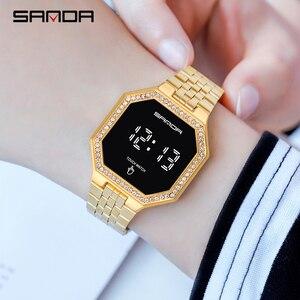 SANDA 2020 модные часы, женские часы с кристаллами, бриллиантами, сенсорным экраном, цифровые часы, водонепроницаемые наручные часы для женщин, ч...