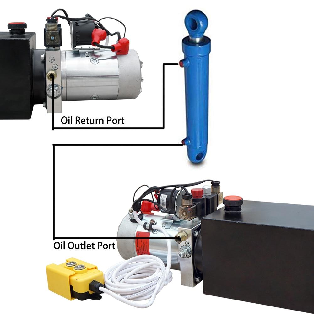 Гидравлический насос двойного действия 4 л, 12 В, для самосвала, прицепа, подъема автомобиля, максимальный резервуар 3200 PSI