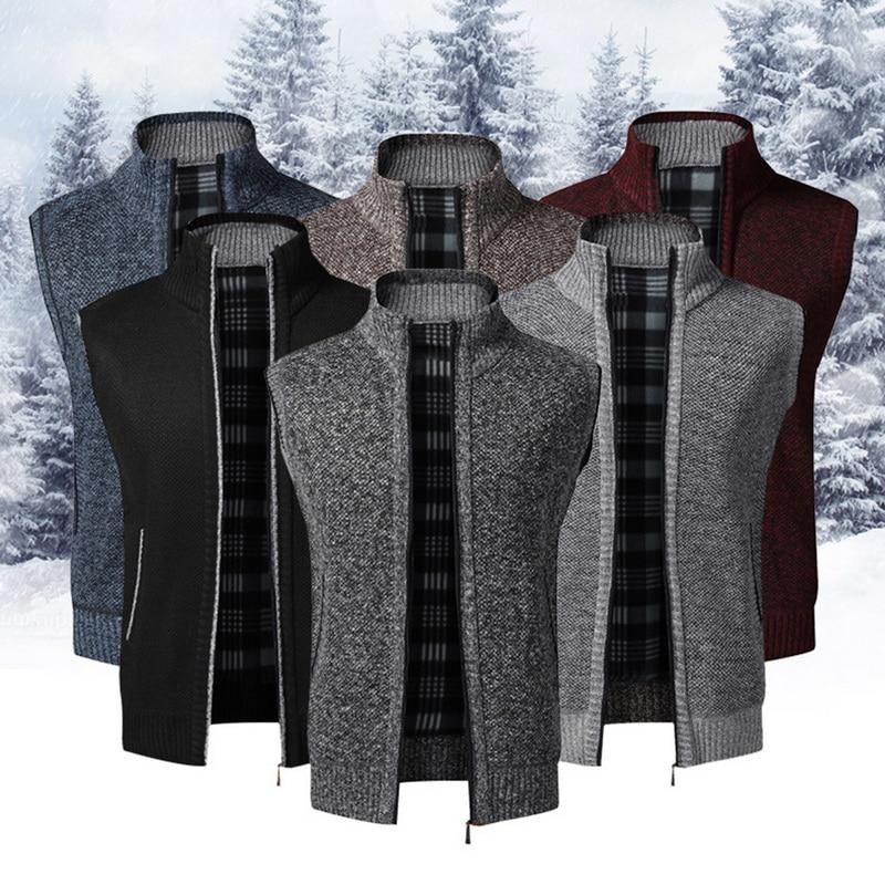 2020 Autumn Winter Men Sleeveless Sweater Coat Warm Zipper Stand Sweater Cardigan Men Knitted Vest Sweatercoat Casual Knitwear