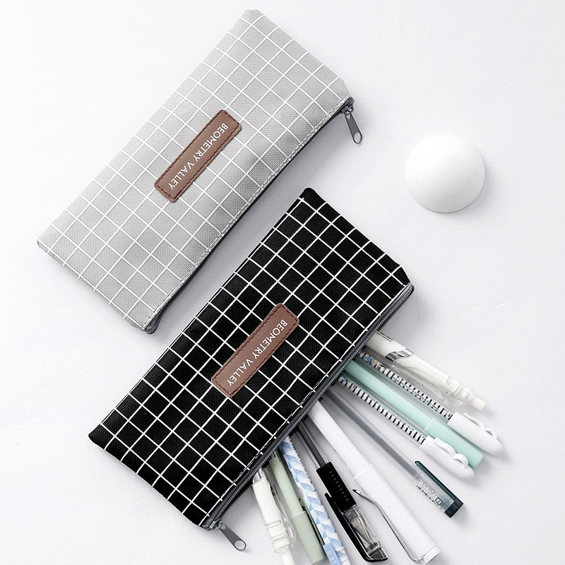 Kawaii Simple Grid Dot Canvas Pencil Bag Stationery Storage Organizer Pencil Case School Supply