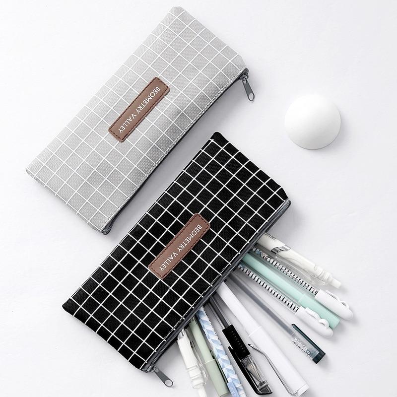 Kawaii Simple Grid Dot Canvas Pencil Bag Stationery Storage Organizer Pencil Case School Supply