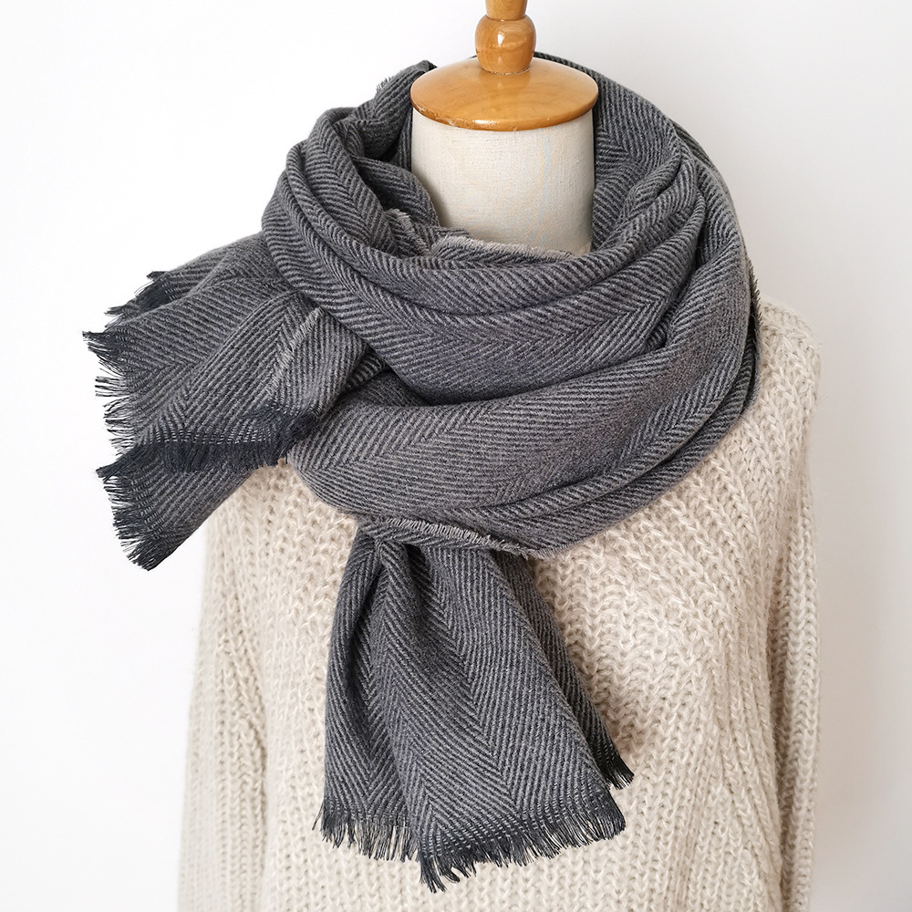 Long Scarf With Tessel Warmer Winter Fashion Scarf Luxury Gift For Women Ladies Knitting Cashmere Pashmina