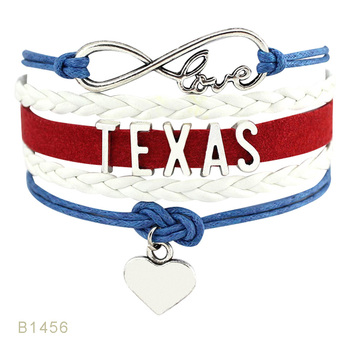 United States Golden State Florida Michigan Minnesota Texas Ohio State is My Home Leather Wrap Mens Bracelets for Women image
