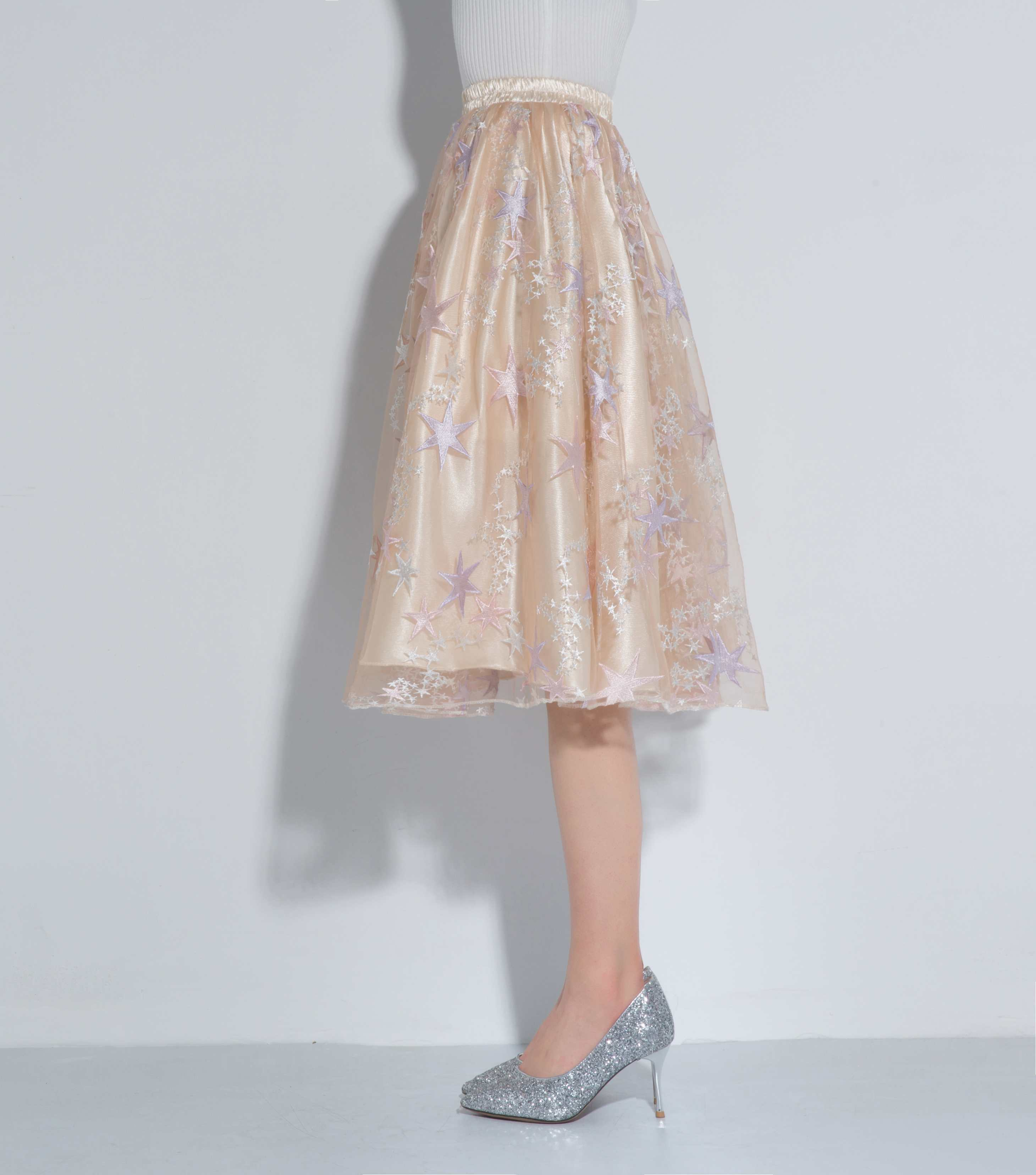 Unique Champagne Star Pattern Petticoat Knee Length High Quality Soft Skirt in Petticoats from Weddings Events