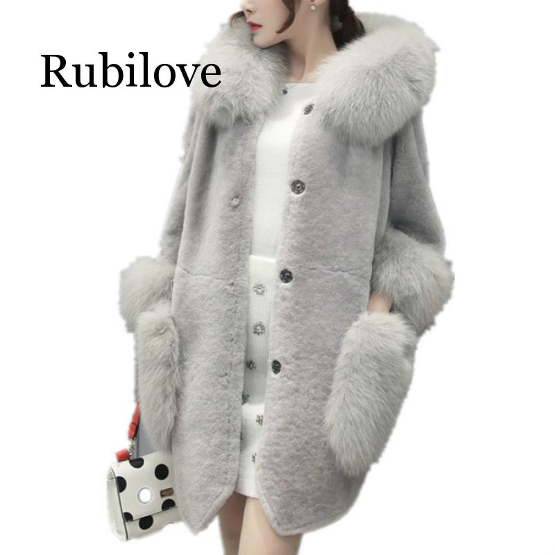 2020 Women Winter Coat High Imitation Faux Fur Coat Women Faux Fur Collar Hooded Fur Jacket Medium-long Overcoat S-5XL