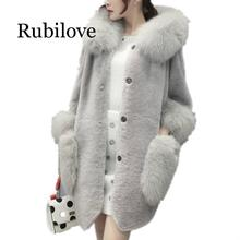 Rubilove 2019 women winter coat high imitation Faux fur faux collar hooded Jacket medium-long overcoat S-5XL