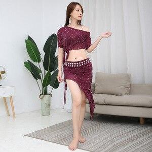 Image 5 - 2019 yeni profesyonel tasarım yetişkin takım uygulama dans giyim 2 parça seksi oryantal dans rahat kostüm örgü giyim
