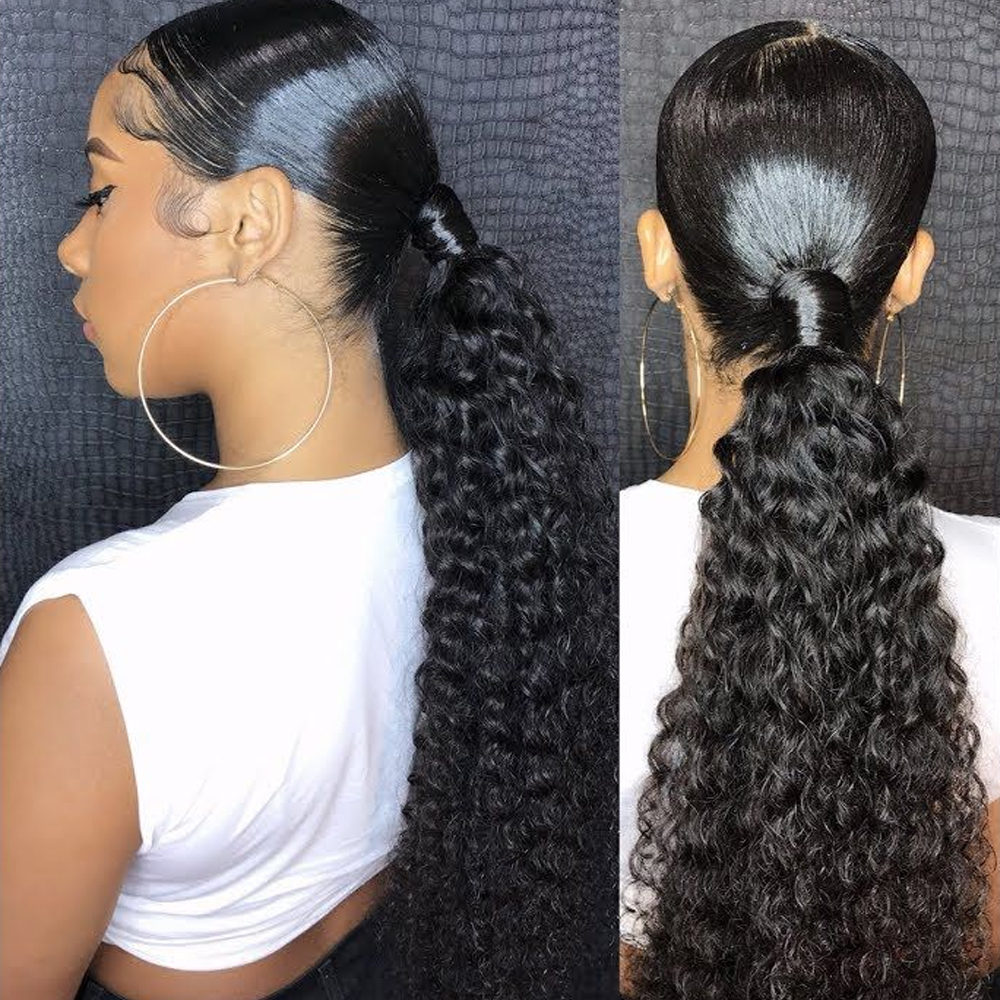 Sapphire Ponytail Human Hair Machine Remy Brazilian Kinky Curly Ponytail  Hairstyles 100% Natural Hair Clip in Extensions|Ponytails| - AliExpress
