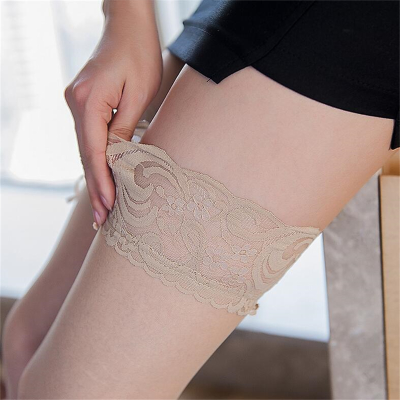 Sexy Long Stockings Womens Lace Top Silicon Strap Anti-skid Thigh High Over Knee Socks Nightclubs Hosiery Medias De Mujer 6