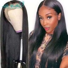 Ali Grace sahte kafa derisi peruk düz dantel ön peruk siyah kadınlar için görünmez knot Premade sahte kafa derisi dantel ön İnsan saç peruk