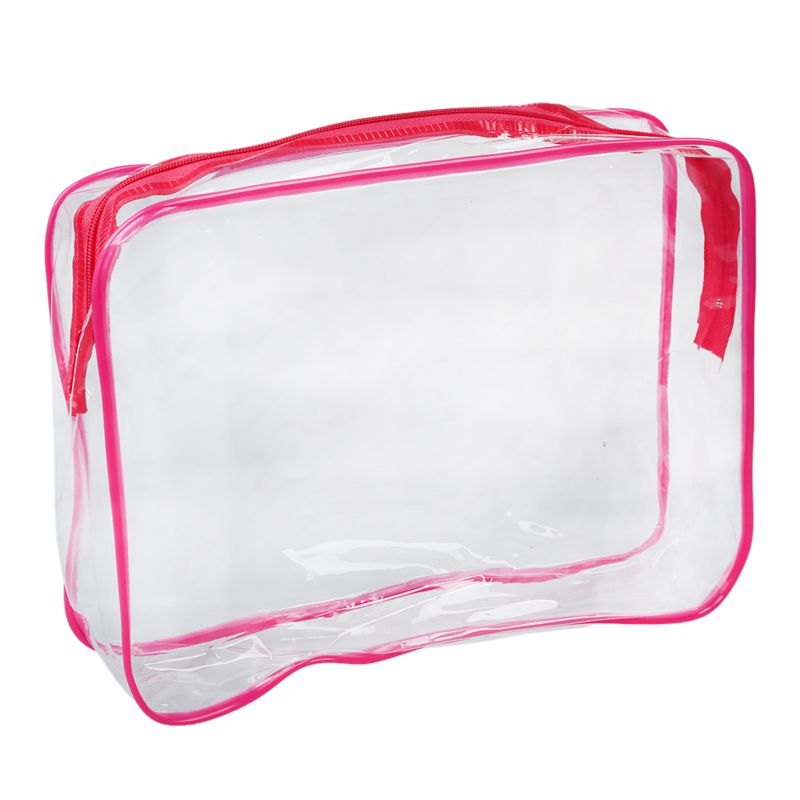 PVC Clear Pouch Travel Bathing Toiletry Zipper Cosmetic Bag, Rose Red L