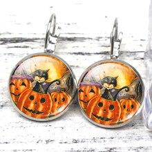 Creative Halloween Cartoon Earrings Fashion Ear Perforated Handmade Black Bats Pumpkin Stud Jewelry Festival Souvenire
