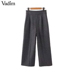 Image 1 - Vadim femmes élégant solide jambe large pantalon côté fermeture éclair style européen femme tenue de bureau pantalon décontracté pantalons mujer KB227