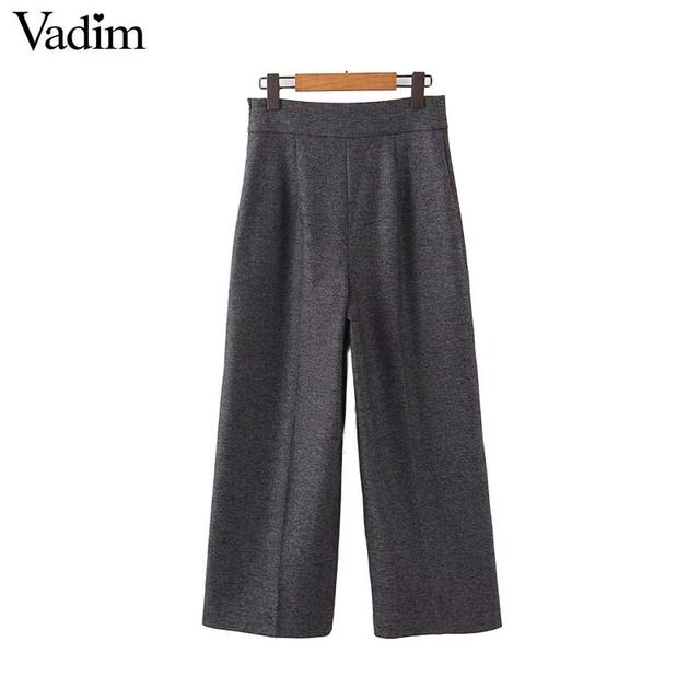 Vadim femmes élégant solide jambe large pantalon côté fermeture éclair style européen femme tenue de bureau pantalon décontracté pantalons mujer KB227