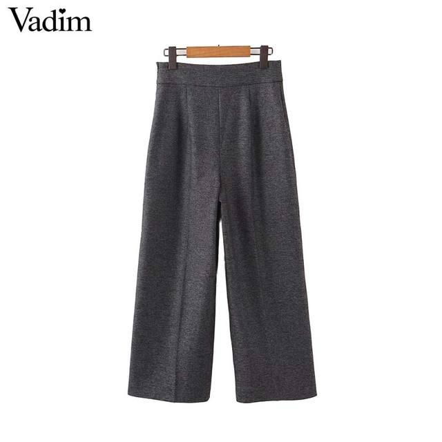 Vadim women elegant solid wide leg pants side zipper European style female office wear casual trousers pantalones mujer KB227