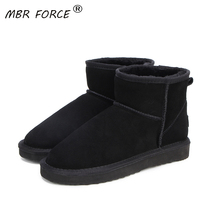 MBR FORCE High Quality Australia  Brand Winter Womens Snow Boots Cow Split Leather Ankle Shoes Woman Botas Mujer Big US 3 13
