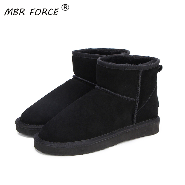 MBR FORCEคุณภาพสูงออสเตรเลียยี่ห้อผู้หญิงฤดูหนาวหิมะรองเท้าวัวแยกหนังข้อเท้ารองเท้าผู้หญิงBotas Mujerขนาดใหญ่US 3 13