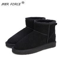 Mbr力高品質オーストラリアブランドの冬の女性の雪のブーツ牛床革足首の靴女性bota ş mujerビッグ米国3 13