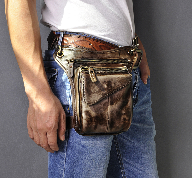 Genuine Original Leather Men Design Casual Sling One Shoulder Messenger Bag Fashion Fanny Waist Belt Pack Drop Leg Bag 211-3-w