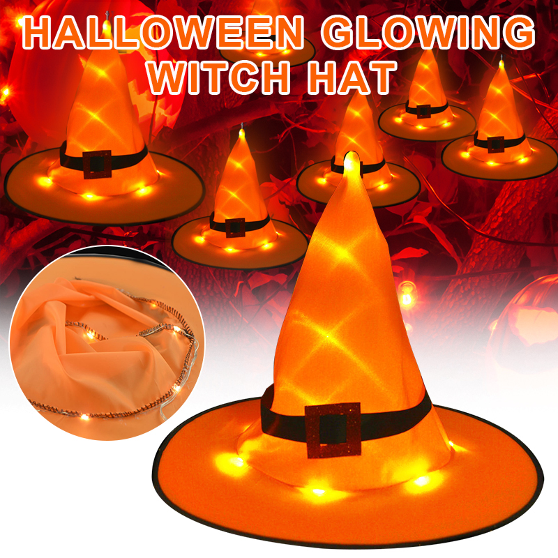 1/2/4PCS Halloween Glowing Witch Hat Outdoor LED Decoration Lights Hanging Lighted Party Decoration Cosplay Witch Hats