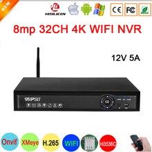12V 5A Bule Pannello Hi3536C XMeye H.265 + Audio Viso di Rilevamento 8mp 32CH 32 Canale 8mp 4K 32CH un SATA Onvif CCTV di WIFI NVR