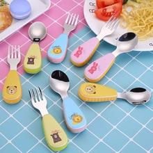 Tofok 2pcs/set Baby Food Feeding Spoon Fork Set Stainless Steel Children Tableware Kids Eating Cutlery Cartoon Animal Flatware