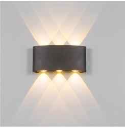 2W 4W 6W 8W oświetlenie naścienne led na zewnątrz wodoodporny nowoczesny skandynawski styl kryty kinkiety salon ogród na werandzie lampa AC90 260V w Zewnętrzne lampy ścienne od Lampy i oświetlenie na