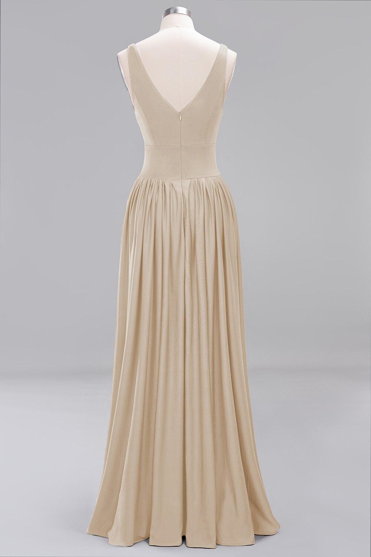 Champagne Satin V Neck Long Bridesmaid Dress 3