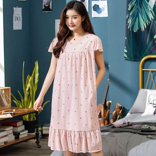 2019 sommer Kleine Blumen Nacht Kleid Frauen Nachthemd Plus Größe 3XL Sleep Kurze ärmel Nachthemd Nachthemd Baumwolle Nachtwäsche