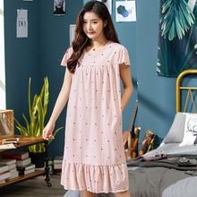 2020 Summer Small Floral Night Dress Women Nightgown Plus Size 3XL Sleepshirts Short sleeves Nightie Nightdress Cotton Sleepwear